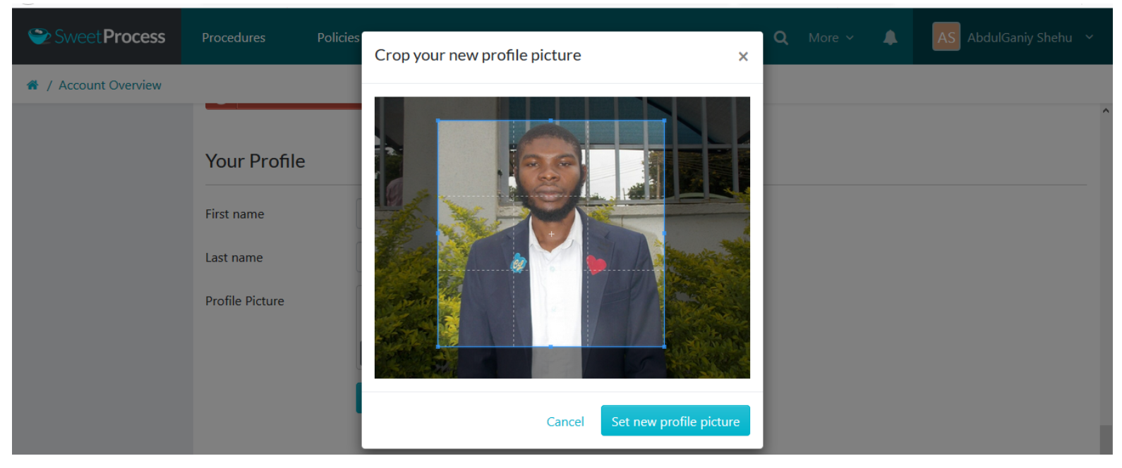 "Crop your new profile picture, and click on the ""Set new profile picture"" button."