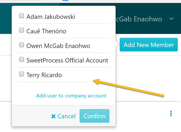 "When the page opens, click on the employee you want to add to the team. Then click ""Confirm"" button."
