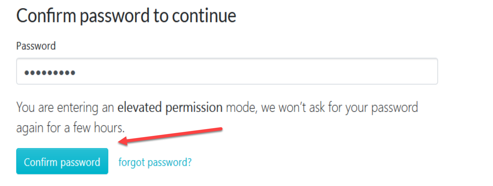 "When the new page loads, click on ""Confirm password"" to continue."