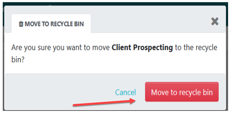 """Click on the """"Move to recycle bin"""" button to confirm"""