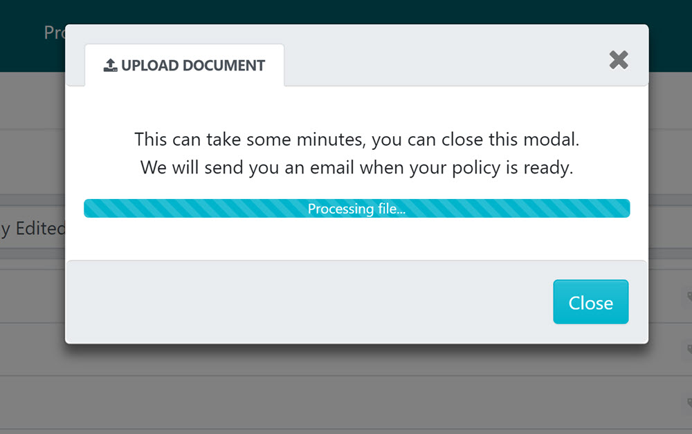 At this stage the file will be processed and imported into SweetProcess.