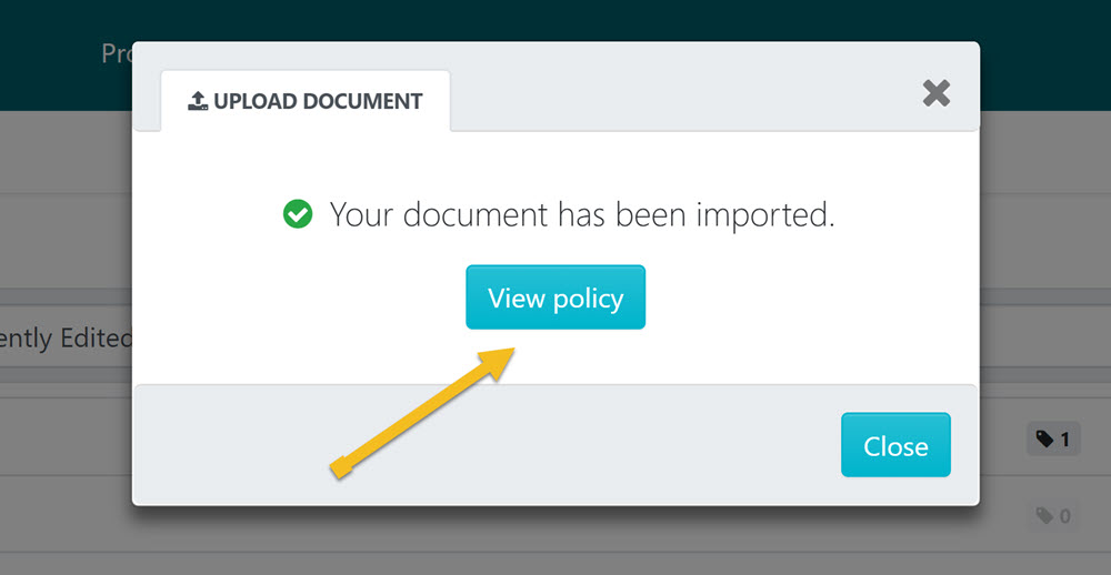 """After the policy has been imported click on the """"View policy"""" button."""