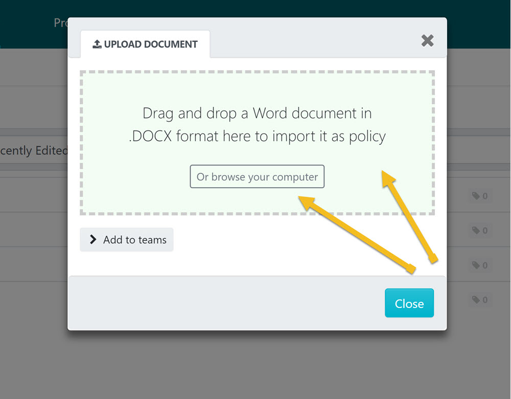 """Drag and drop the file into the """"UPLOAD DOCUMENT"""" dialog box or browse your computer for the file and upload it."""