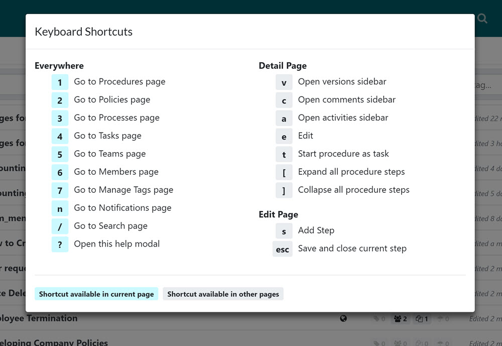 Dialog box that lists the available keyboard shortcuts.